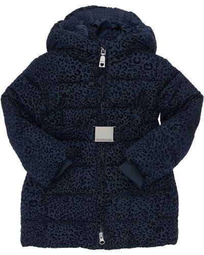 Пуховое пальто с капюшоном с поясом с манжетами Monnalisa