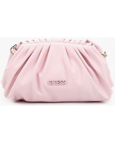 Розовая кожаная сумка через плечо Guess