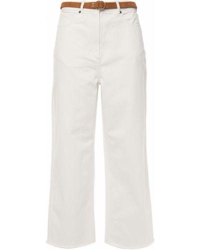 Białe jeansy z paskiem bawełniane Zimmermann