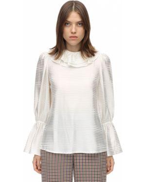 Блузка с длинным рукавом на резинке с расклешенными рукавами Tory Burch