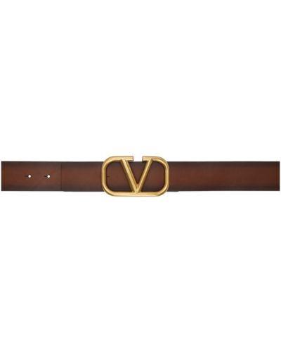 Skórzany pasek złoto z paskiem z klamrą Valentino