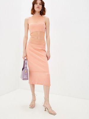Оранжевое платье-футляр John Richmond