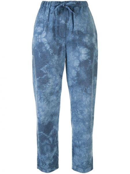 Хлопковые синие спортивные брюки с карманами на шнурках Raquel Allegra