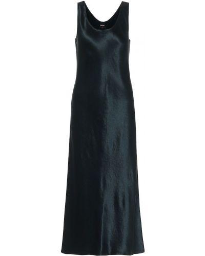 Зеленое вечернее сатиновое вечернее платье Max Mara
