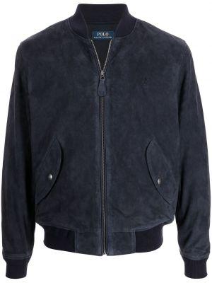 Кожаная куртка с воротником - синяя Polo Ralph Lauren
