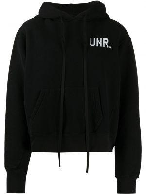 Хлопковая черная толстовка с капюшоном с длинными рукавами Unravel Project