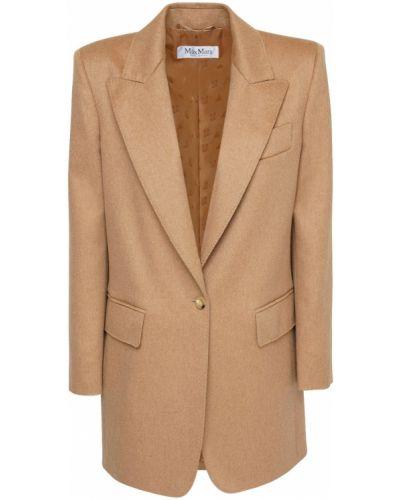 Коричневый пиджак с карманами из верблюжьей шерсти с манжетами Max Mara
