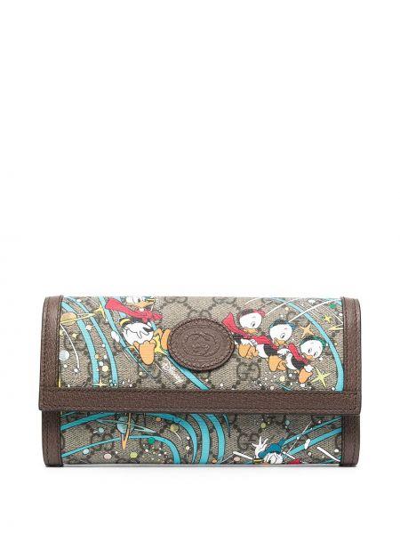 Brązowy skórzany portfel na monety z kieszeniami Gucci