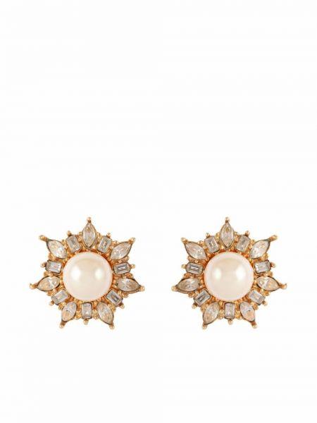 Białe kolczyki pozłacane Christian Dior