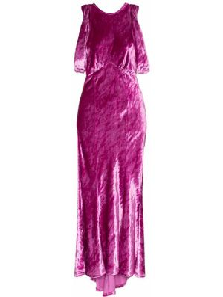 Różowa sukienka midi asymetryczna z wiskozy Attico