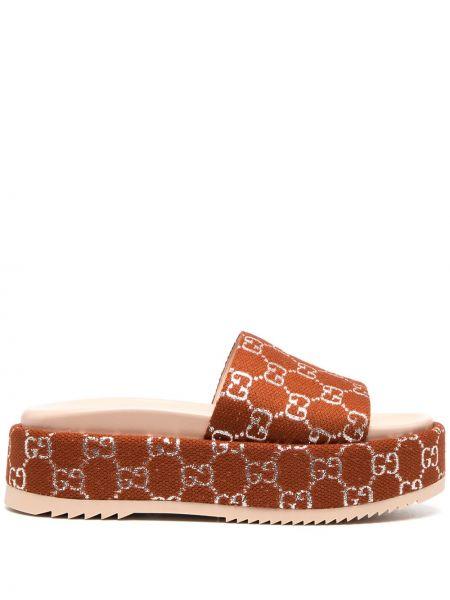 Brązowy skórzany sandały okrągły na platformie Gucci