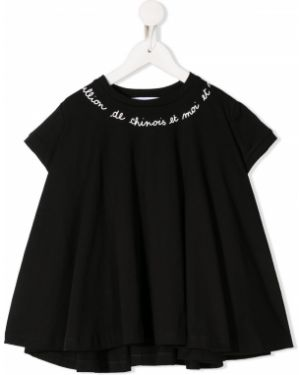 Черная блузка с короткими рукавами с вырезом Scrambled Ego