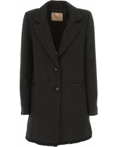 Czarny płaszcz bawełniany zapinane na guziki Twin Set By Simona Barberi