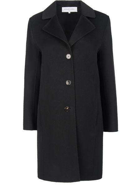 Черное шерстяное пальто классическое с воротником на пуговицах Gerard Darel