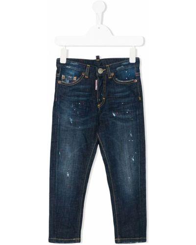 Кожаные синие джинсы-скинни на молнии Dsquared2 Kids