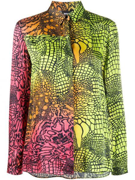 Зеленая с рукавами классическая рубашка с воротником Just Cavalli