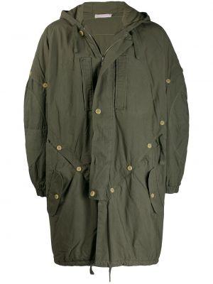 С рукавами зеленое укороченное пальто на пуговицах свободного кроя Walter Van Beirendonck Pre-owned
