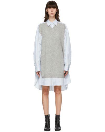 Платье макси с длинными рукавами с V-образным вырезом с воротником с манжетами Maison Margiela