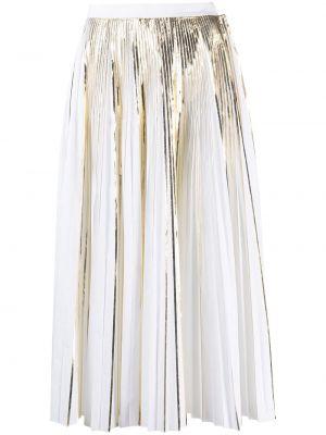 Хлопковая белая плиссированная юбка миди Valentino