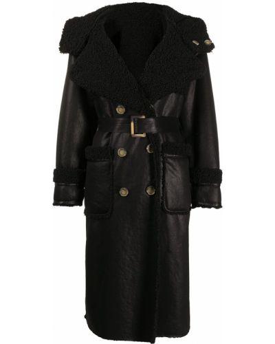 Черное пальто классическое с капюшоном на пуговицах Urbancode