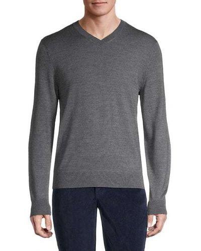 Мягкий шерстяной длинный свитер с V-образным вырезом Saks Fifth Avenue