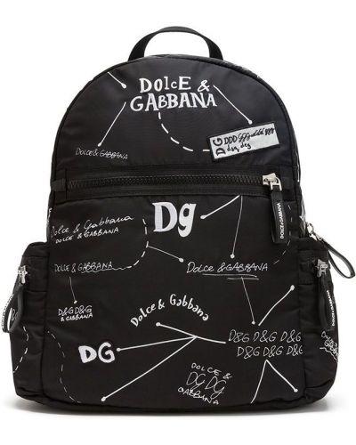 Хлопковый с ремешком черный рюкзак Dolce & Gabbana Kids