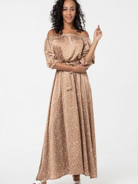 Коричневое платье с открытыми плечами Lmp