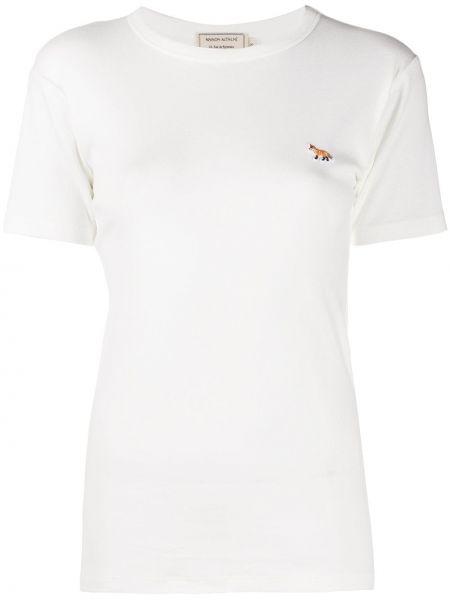 Хлопковая белая футболка с вышивкой с круглым вырезом Maison Kitsuné