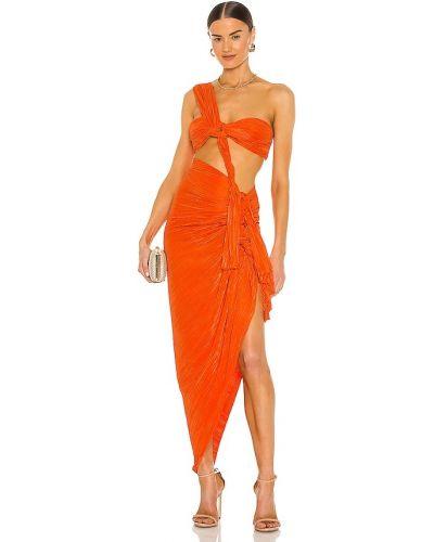 Нейлоновое оранжевое платье миди классическое Bronx And Banco