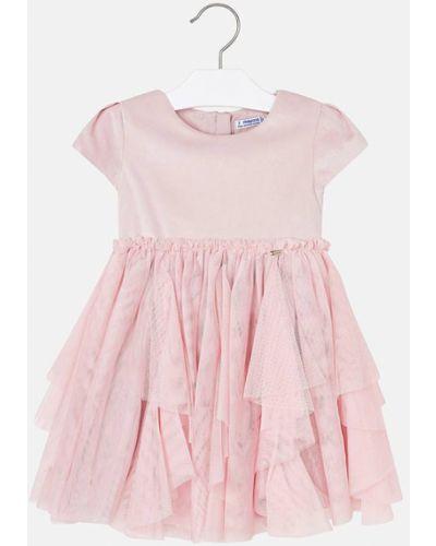 Платье с рукавами однотонное розовый Mayoral