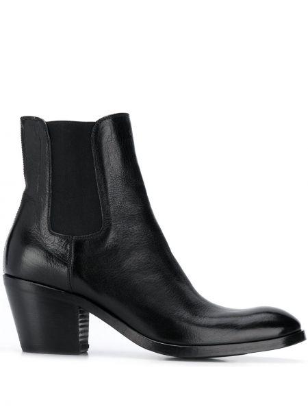 Черные сапоги без каблука на каблуке из натуральной кожи Alberto Fasciani