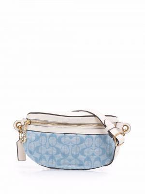 Синяя кожаная сумка Coach