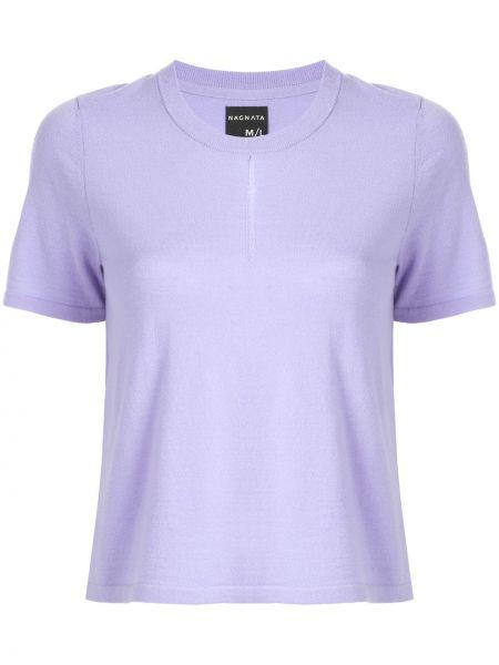 Fioletowy t-shirt krótki rękaw wełniany Nagnata
