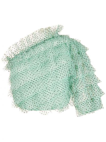 Zielona bluzka tiulowa z printem Nk