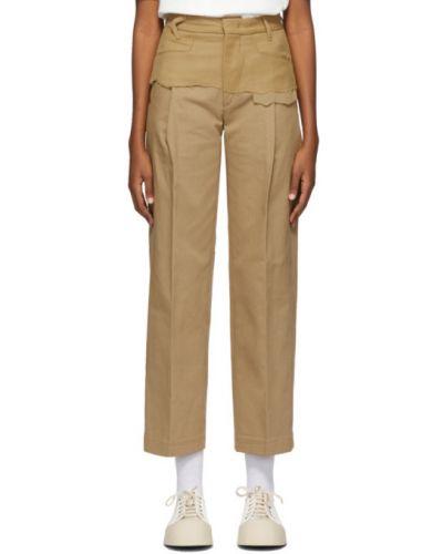 Brązowe spodnie bawełniane z paskiem Ader Error