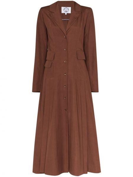 Шелковое коричневое пальто на пуговицах с лацканами Evi Grintela