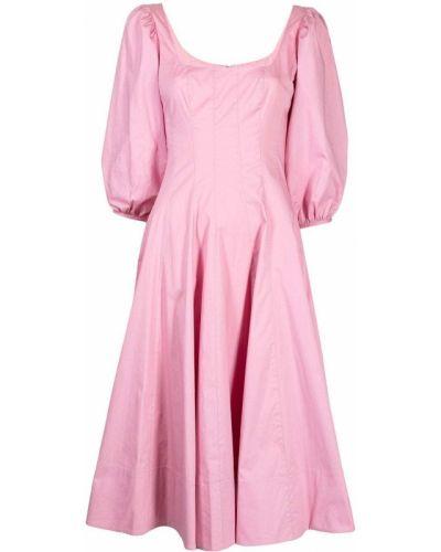 Хлопковое платье миди - розовое Staud