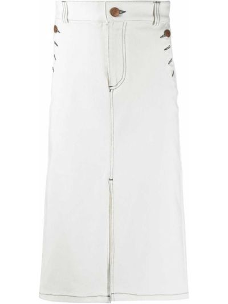 Хлопковая белая джинсовая юбка с разрезом See By Chloé
