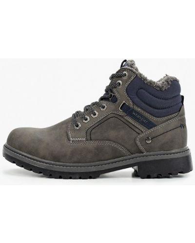 Серые кожаные ботинки Wrangler