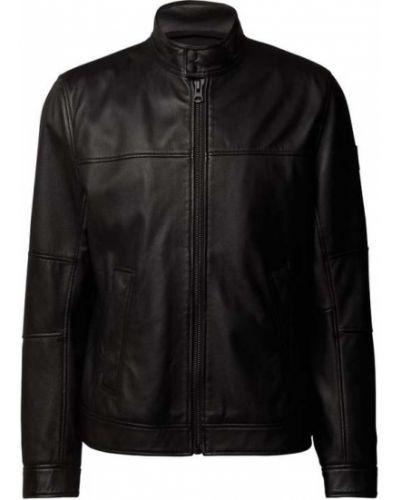 Czarna kurtka skórzana Boss Casualwear