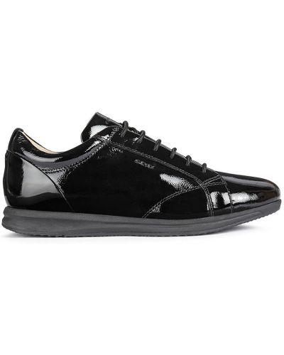 Czarne sneakersy skorzane sznurowane Geox