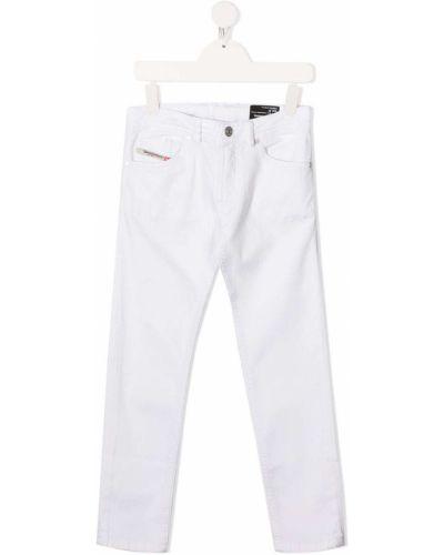 Кожаные белые джинсы классические стрейч Diesel Kids