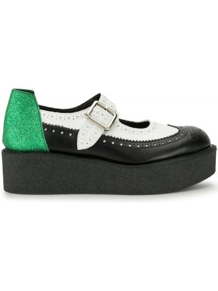 Skórzany czarny buty brogsy okrągły nos z klamrą Yohji Yamamoto