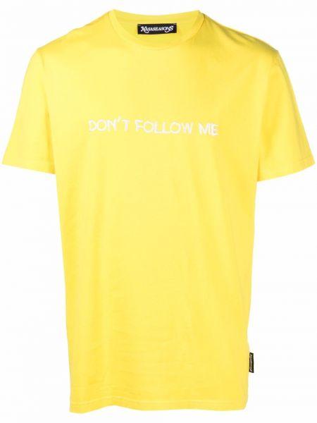 Żółta T-shirt z nadrukiem bawełniana Nasaseasons