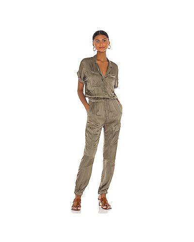 Шелковый оливковый комбинезон на пуговицах с карманами Young Fabulous & Broke