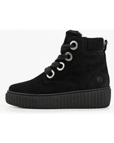 Высокие кроссовки замшевые черные Tamaris