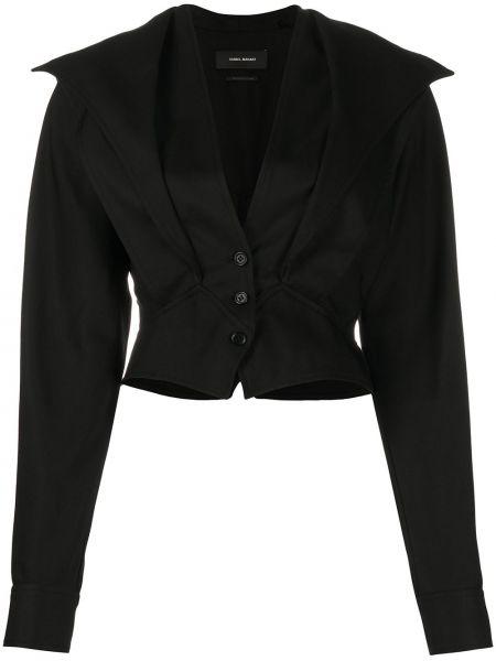 Хлопковый черный пиджак с V-образным вырезом Isabel Marant