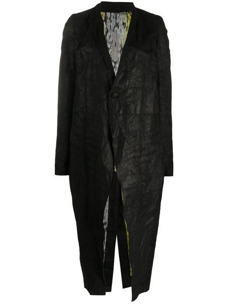 Черное длинное пальто узкого кроя на пуговицах с лацканами Rick Owens