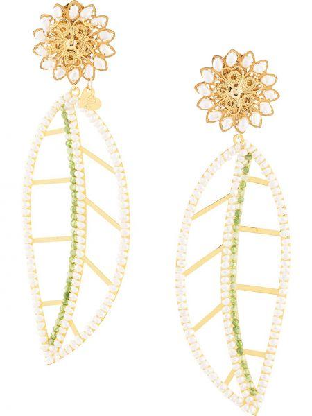 Zielone złote kolczyki sztyfty perły Mercedes Salazar