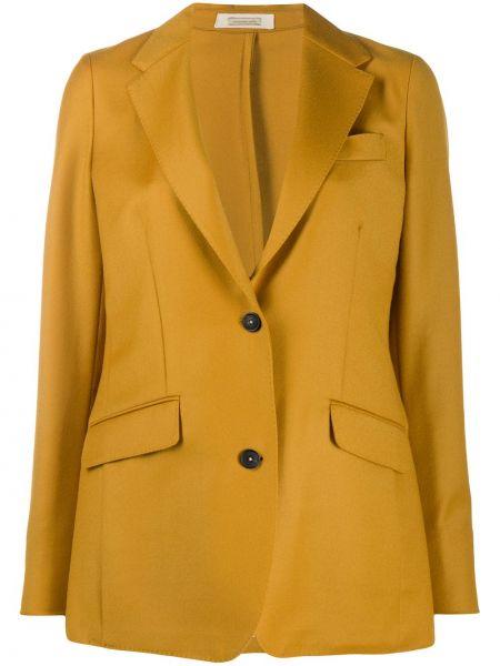 Шерстяной желтый классический пиджак с карманами с лацканами Massimo Alba